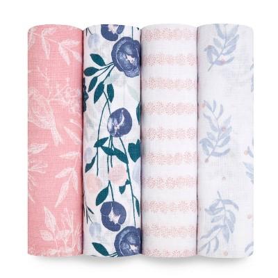 Aden + Anais Essentials Swaddle Blankets Flowers Bloom 4pk