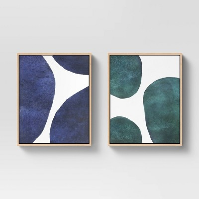 """(Set of 2) 16"""" x 20"""" Large Circles Abstract Framed Wall Canvas White/Blue/Green - Project 62™"""