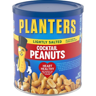 Planters Lightly Salted Made With Sea Salt Cocktail Peanuts - 16oz