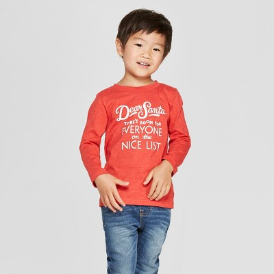 Toddler Boys' Dear Santa Long Sleeve T-Shirt - Cat & Jack™ Red 2T