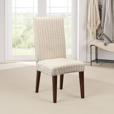 Stretch Printed Velvet Dottie Short Dining Room Chair Slipcover Cream - Sure Fit