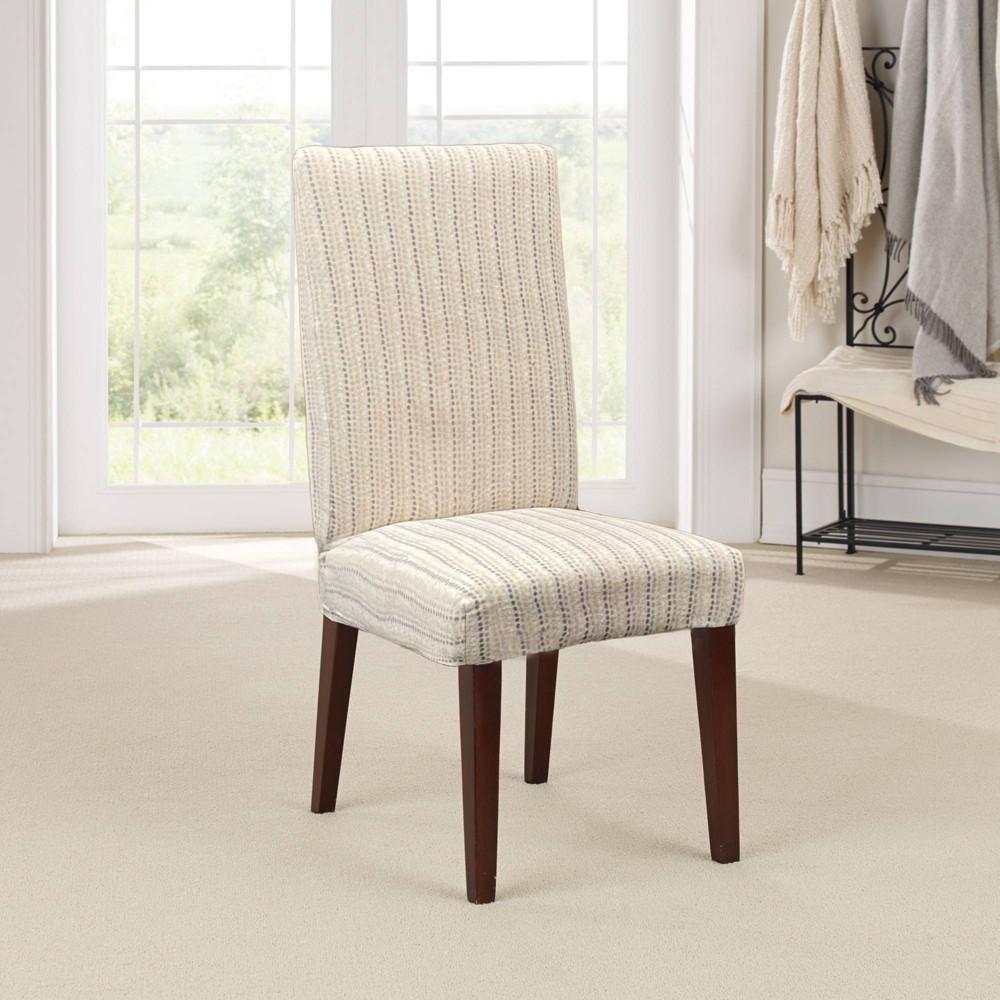 Stretch Printed Velvet Dottie Short Dining Room Chair Slipcover Cream Sure Fit