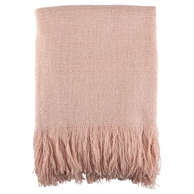 Pink Fringe Hem Throw Blankets (50 x60 )- Saro Lifestyle®