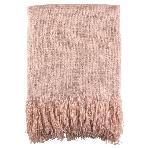 "Pink Fringe Hem Throw Blankets (50""x60"") - Saro Lifestyle - image 1 of 3"