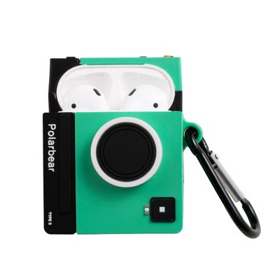 Insten Cute Case Compatible with AirPods 1 & 2 - Polaroid Film Camera Cartoon Silicone Cover with Keychain, Green
