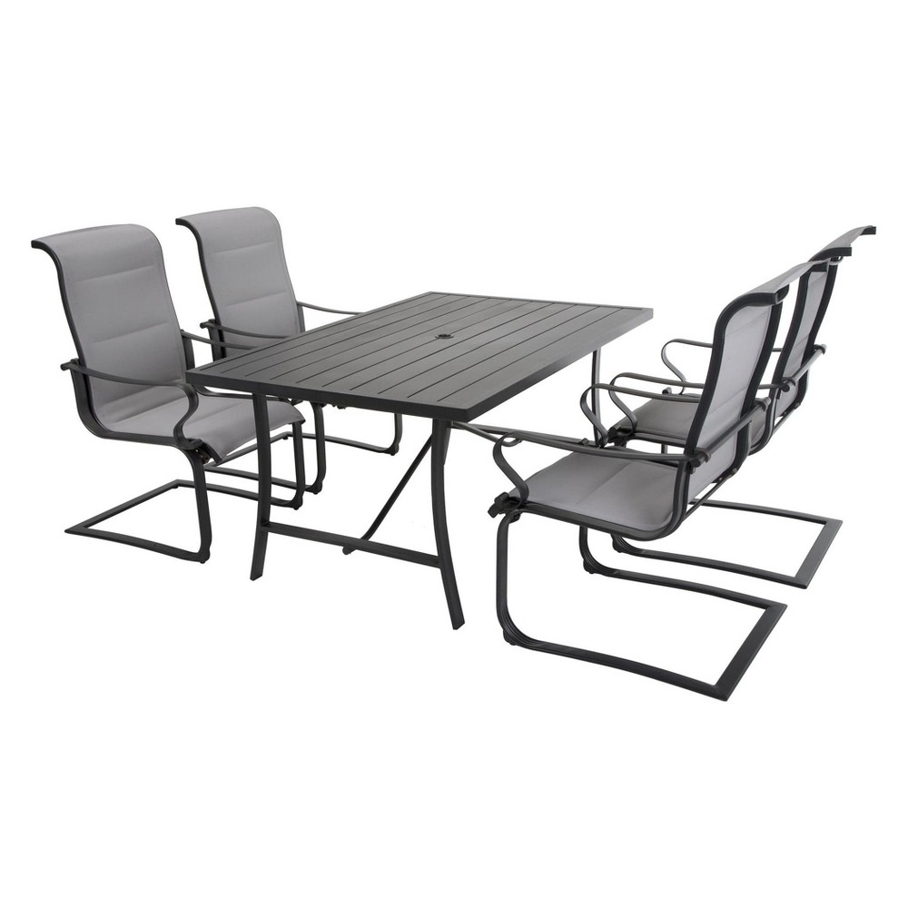 'It's a Snap' 5pc Rectangle Patio Dining Set - Charcoal Gray/Light Gray - Cosco Outdoor Living
