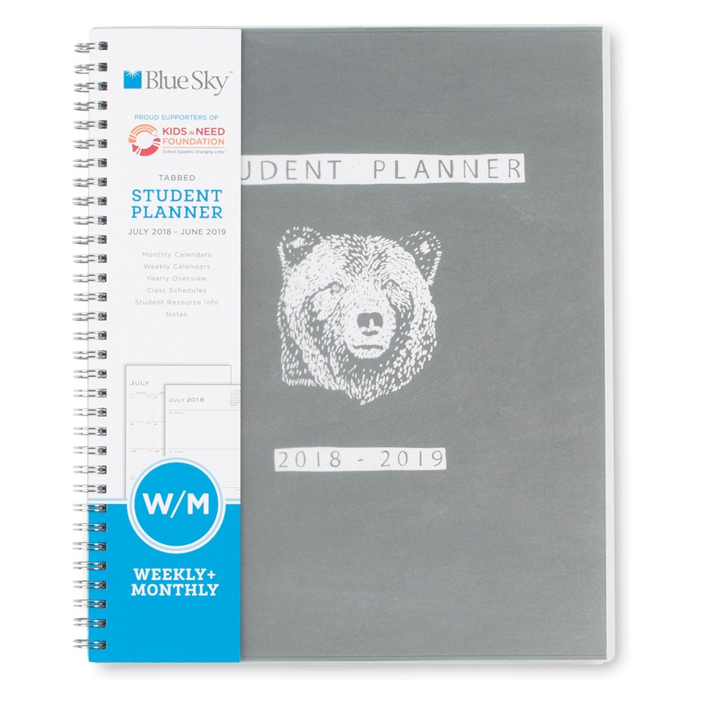 2018-19 Academic Student Planner 8.5 x 11 Grey Bear - Blue Sky, Multi-Colored