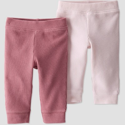 Baby Girls' 2pk Organic Cotton Solid Pull-On Pants - little planet by carter's Pink