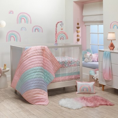 Lambs & Ivy Watercolor Pastel Pink/Mint Rainbow 5-Piece Baby Crib Bedding Set