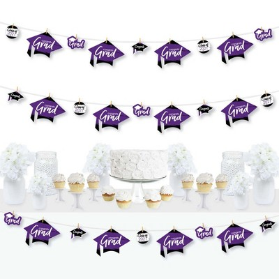 Big Dot of Happiness Purple Grad - Best is Yet to Come - 2021 Purple Graduation Party DIY Decorations - Clothespin Garland Banner - 44 Pieces