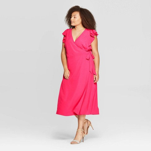 Women's Plus Size Flutter Short Sleeve V-Neck Midi A Line Dress - Who What Wear™ - image 1 of 3