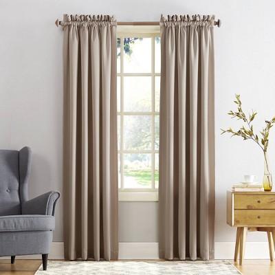 "108""x54"" Seymour Energy Efficient Room Darkening Rod Pocket Curtain Panel Beige - Sun Zero"