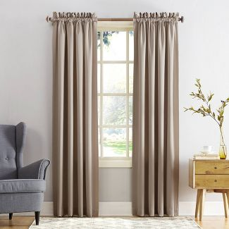 "108""x54"" Seymour Energy Efficient Room Darkening Rod Pocket Curtain Panel Beige - Sun Zero"