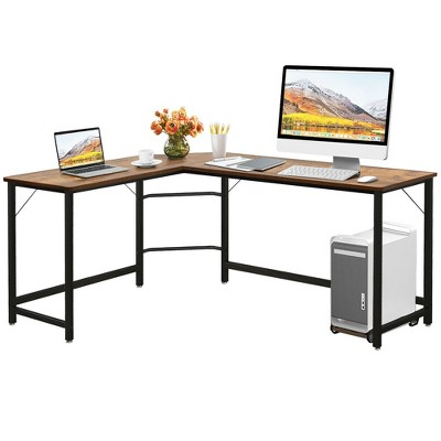 Costway L-Shaped Computer Desk Corner Workstation Study Gaming Table Home Office