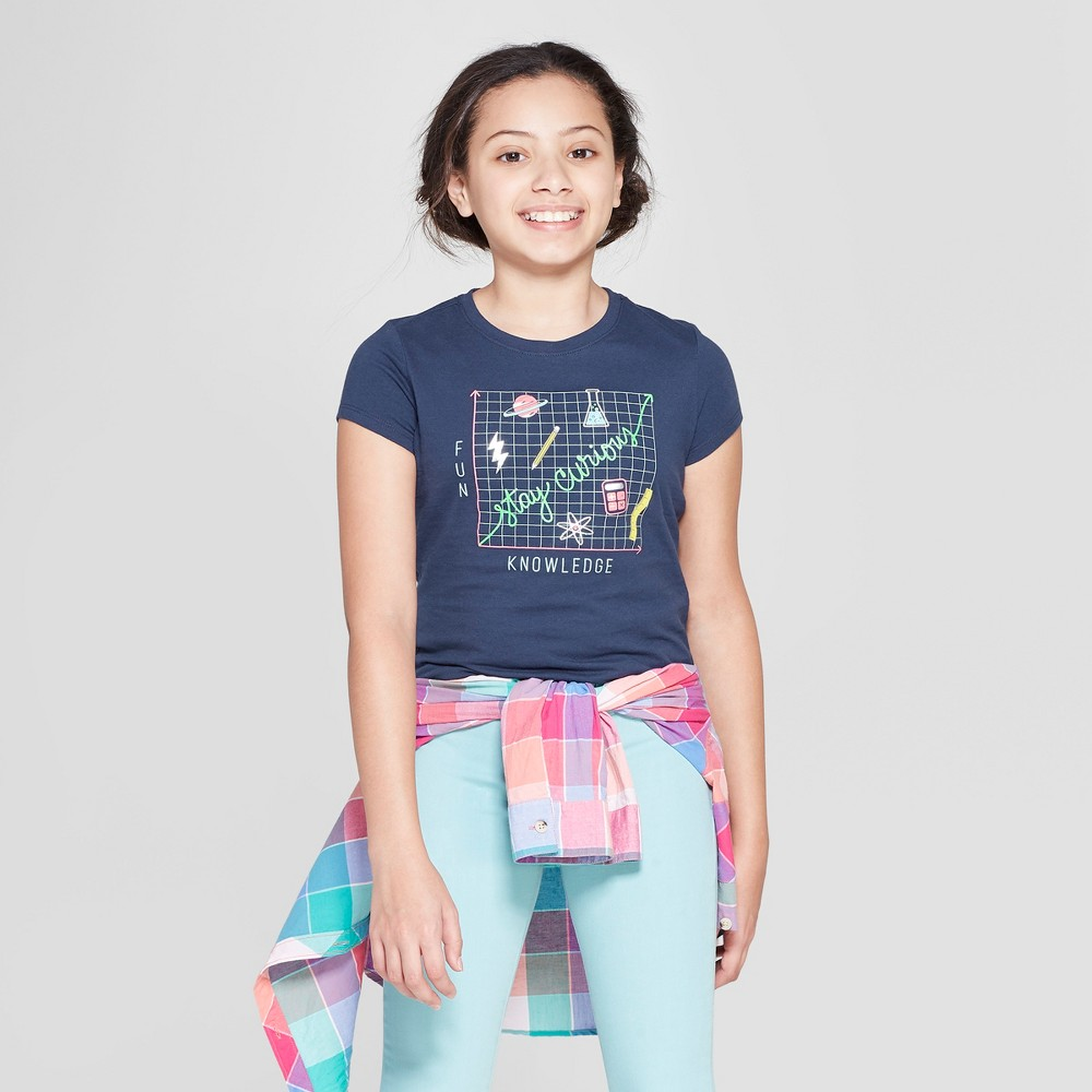 Girls' Short Sleeve Stay Curious Graphic T-Shirt - Cat & Jack Navy S, Blue