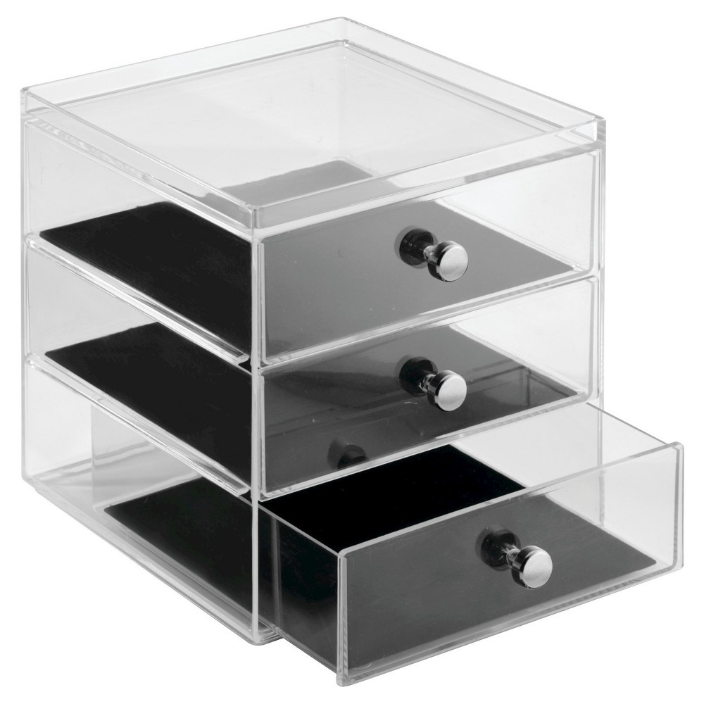 InterDesign 3 Drawer Polystyrene Jewelry Box - Clear/Black