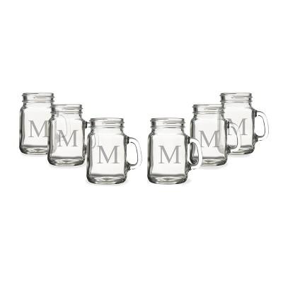 6ct Monogram Wedding Mini Drinking Jar Shot Glasses