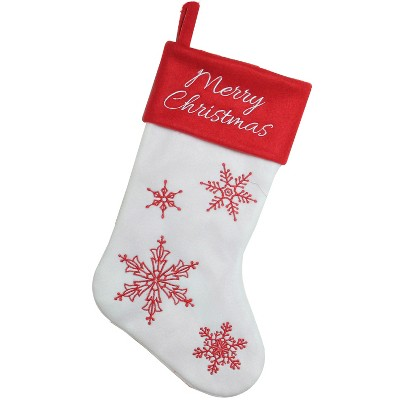 """Northlight 15.25"""" Red and White Snowflake Embroidered Christmas Stocking"""