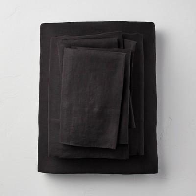 Queen 100% Washed Linen Solid Sheet Set Washed Black - Casaluna™