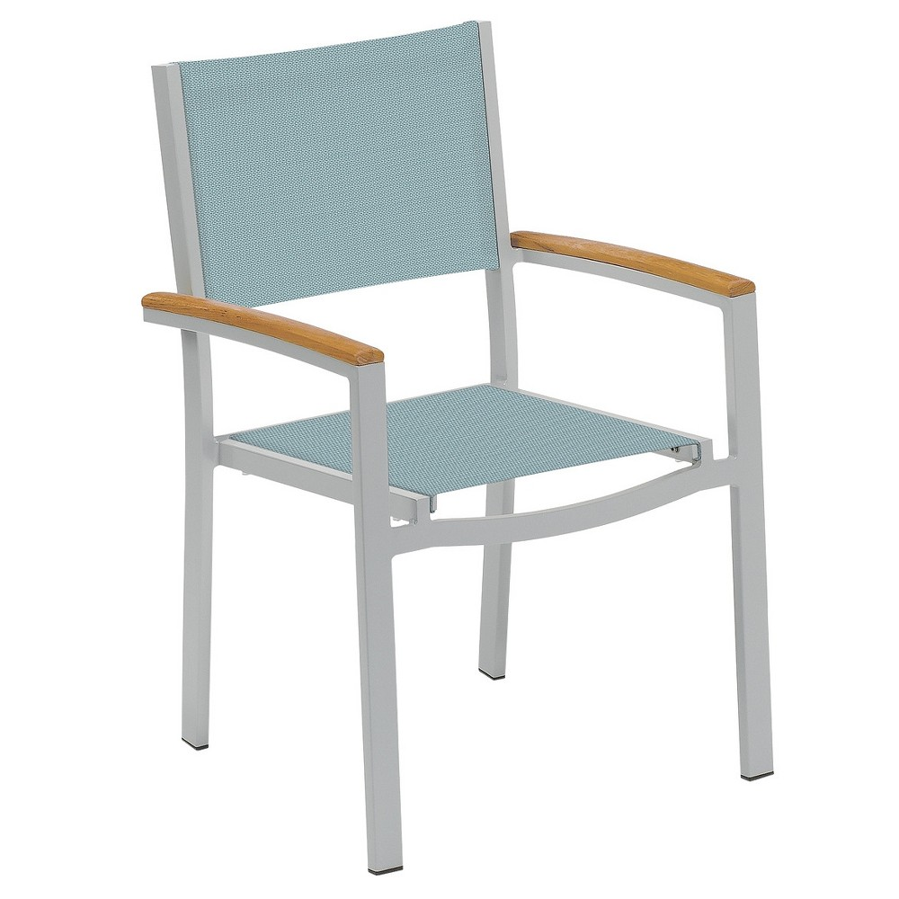 Travira Set of 4 Patio Dining Chairs - Slate Sling - Powder Coated Aluminum Frame - Tekwood Natural Armcaps - Oxford Garden, Slate Sling/Natural Tekwood Armcaps