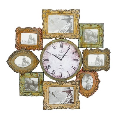 25 Traditional Iron Wall Clock with Assorted Photo Frames - Olivia & May