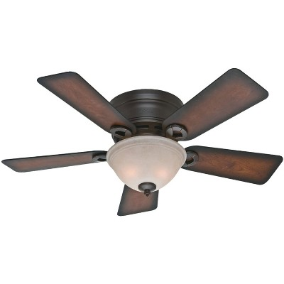 Hunter Fan Company 51023 Conroy Low Profile 42 Inch 5 Blade Ceiling Fan with 2 Energy Efficient 6.5 Watt LED Light Bulbs, Onyx Bengal