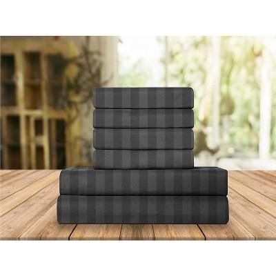 Elegant Comfort Luxurious Silky Soft Wrinkle & Fade Resistant 6-Piece Dobby Stripe Bed Sheet Set.