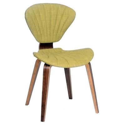 Lisa Modern Chair - Green Fabric And Walnut Wood - Armen Living