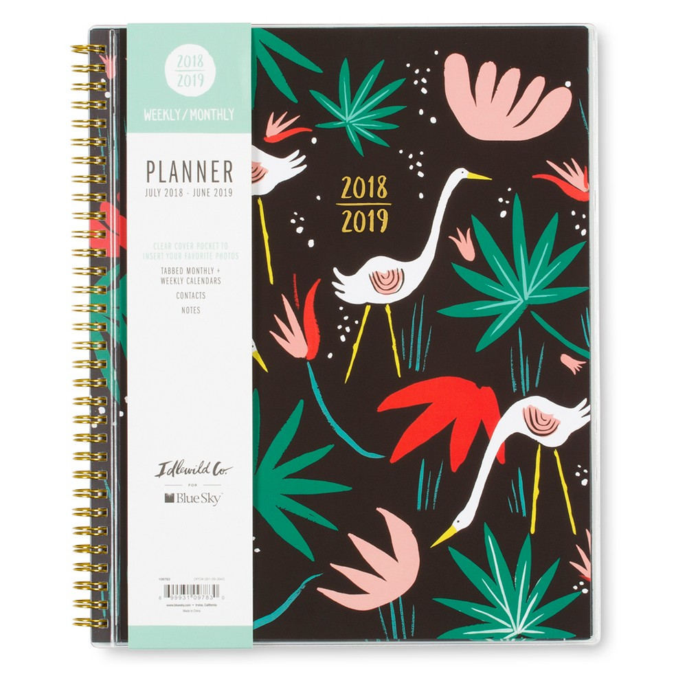 2018-19 Academic Planner 8.5 x 11 Black with Tropical Birds - Blue Sky, Multi-Colored