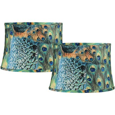 """Set of 2 Peacock Print Medium Drum Lamp Shades 14"""" Top x 16"""" Bottom x 11"""" High (Spider) Replacement with Harp"""