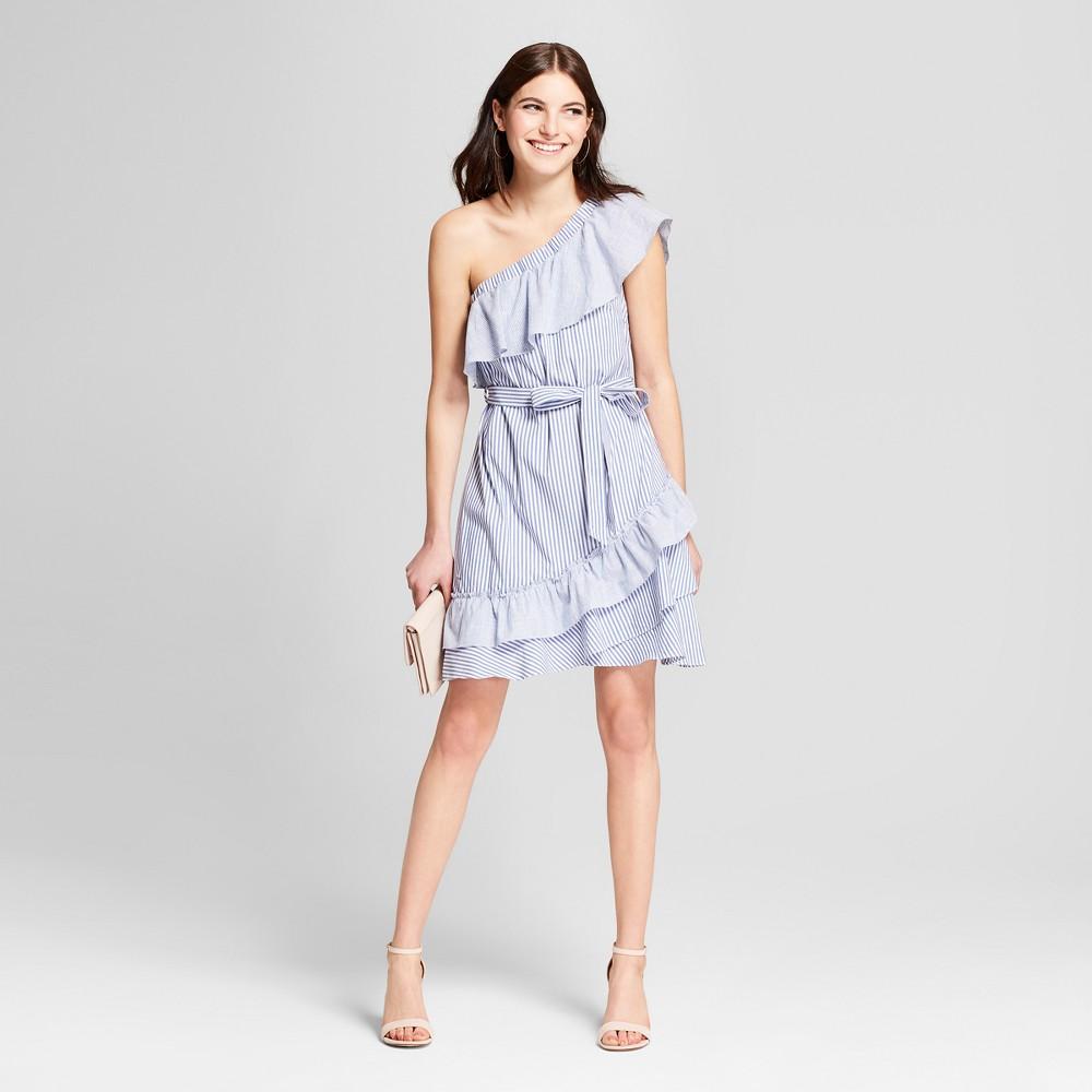 Women's One Shoulder Menswear Striped Ruffle Mini Dress - Éclair Blue XS