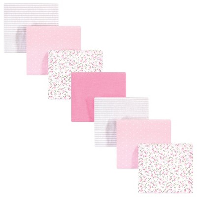 Hudson Baby Unisex Baby Cotton Flannel Receiving Blankets Bundle - Pink Peony One Size