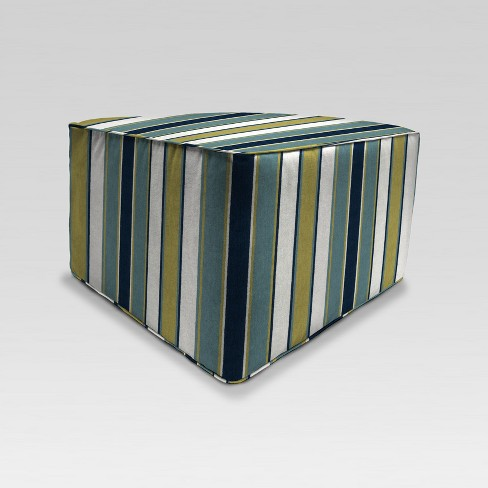 Pleasant Outdoor Boxed Square Pouf Ottoman Green Stripe Jordan Manufacturing Cjindustries Chair Design For Home Cjindustriesco