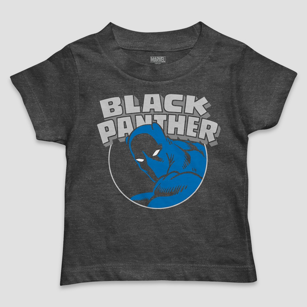 Toddler Boys' Marvel Black Panther Cat Burglar Icon Short Sleeve T-Shirt - Charcoal Heather 5T, Gray