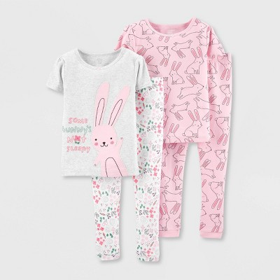 Baby Girls' 4pc Bunny 100% Cotton Pajama Set - Just One You® made by carter's Pink 9M