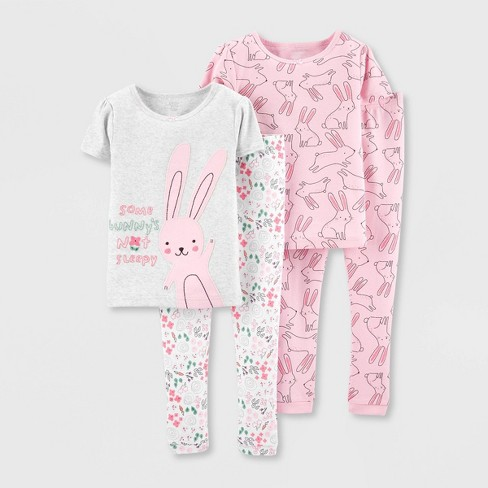Toddler Girls' 4pc Bunny 100% Cotton Pajama Set - Just One You® made by carter's Pink - image 1 of 1