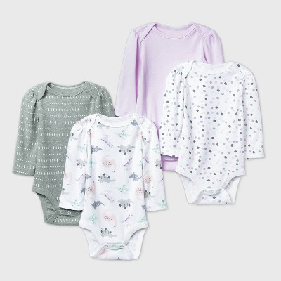 Baby Girls' 4pk Dino Dreams Long Sleeve Bodysuit - Cloud Island™ Pink 3-6M