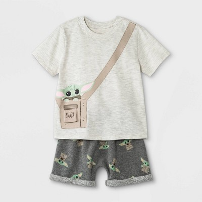 Toddler Boys' 2pc Star Wars Baby Yoda Short Sleeve French Terry Top and Bottom Set Heather Gray