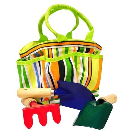 Kids Garden Tools Set with Tote Hand Rake Shovel Trowel - Justforkids - image 1 of 9