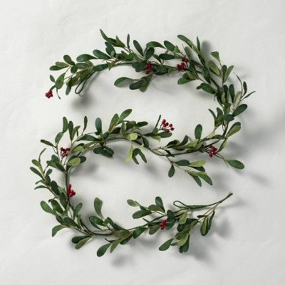 6' Faux Mistletoe with Red Berries Garland - Hearth & Hand™ with Magnolia