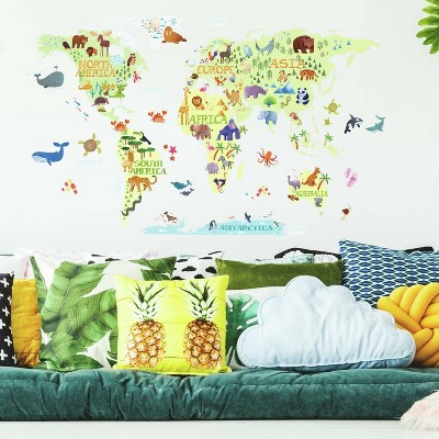 RoomMates Kids' World Map Peel and Stick Giant Wall Decal