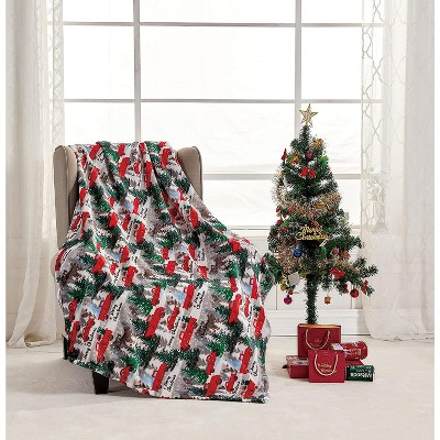 """Festive and Cheery Holiday Microplush Throw Blanket 50""""x60"""" Christmas Pickup Truck"""