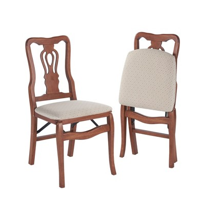 2pc Queen Anne Folding Chairs Cherry - Stakmore