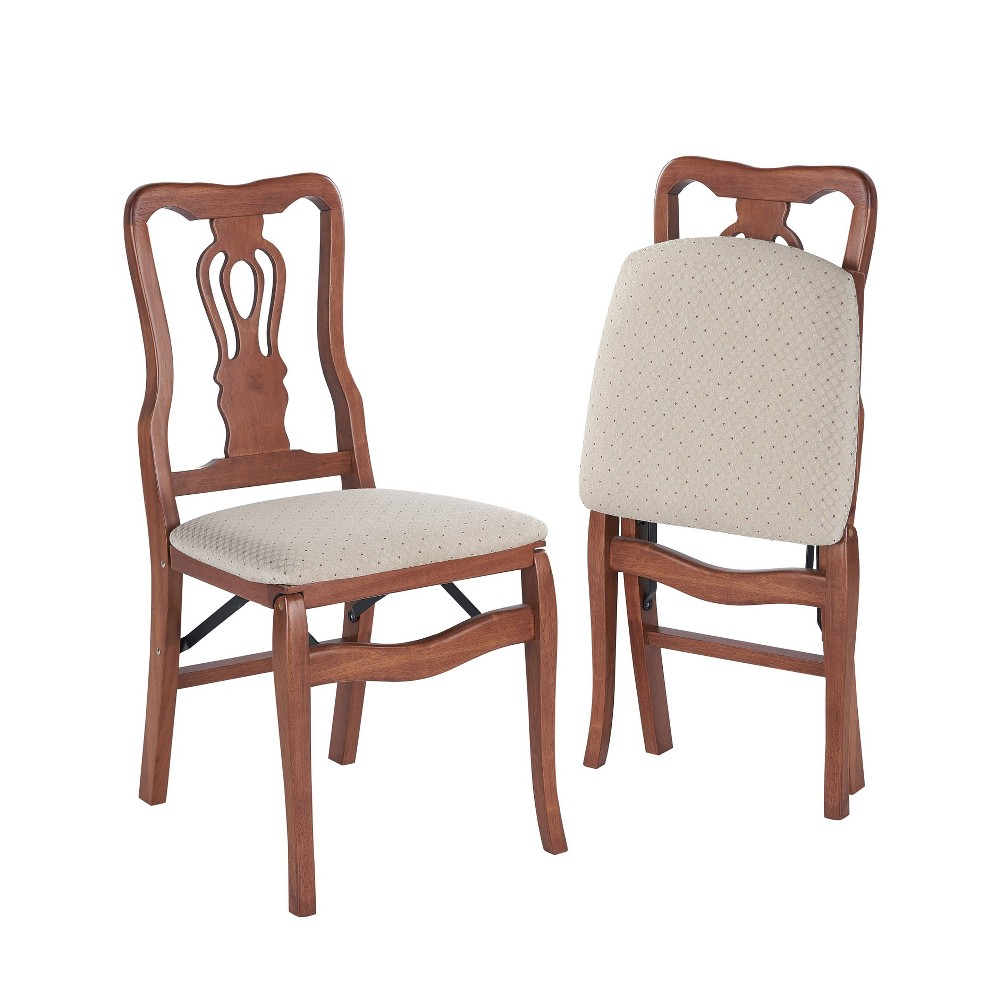 Image of 2 Piece Queen Anne Folding Chair Cherry - Stakmore