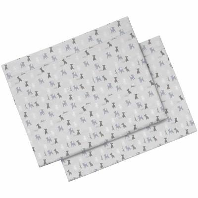 King Printed Pattern Percale Pillowcase Set Gray Dog - ED by Ellen DeGeneres