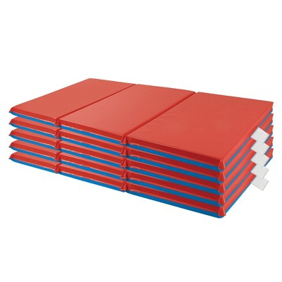"ECR4Kids Premium 3-Fold Daycare Rest Mat, Blue and Red, 1"" Thick (5-Pack)"
