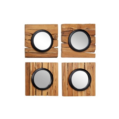 "(Set of 4) 18"" x 18"" Round Wall Mirrors in Square Reclaimed Teak Wood Frames - Olivia & May"
