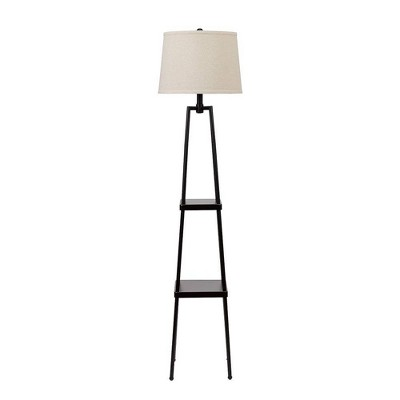 """58"""" Etagere Floor Lamp with Shelves/Beige Linen Shade Black - Cresswell Lighting"""