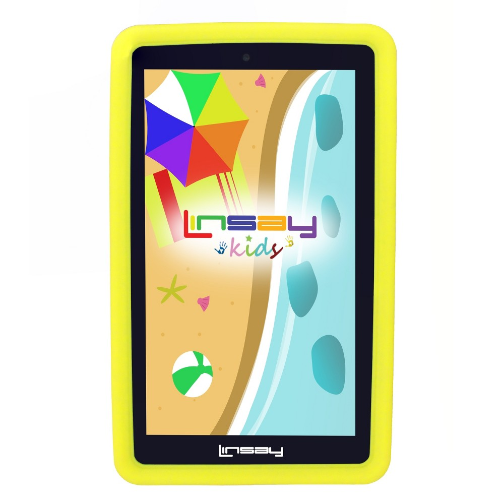 "LINSAY 7"" Kids Funny Tablet 1024x00 HD Quad Core Bundle with Yellow Kids Defender Case"