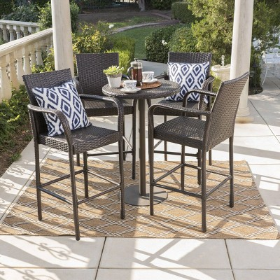 Patina 5pc Wicker Round Patio Bar Set - Brown - Christopher Knight Home